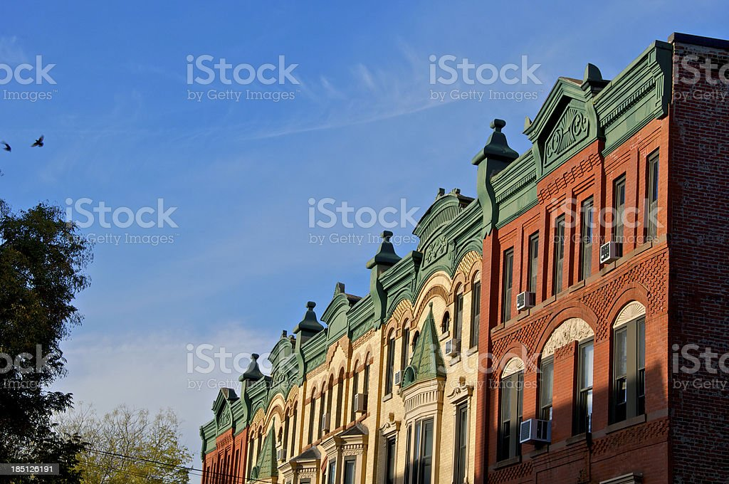19th Century Brownstone row houses, Park Slope, Brooklyn, NYC royalty-free stock photo