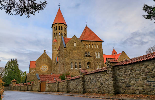 19th century Clervaux Abbey, a monastery of the Saint-Maurice and Saint-Maur Benedictines in Luxembourg stock photo