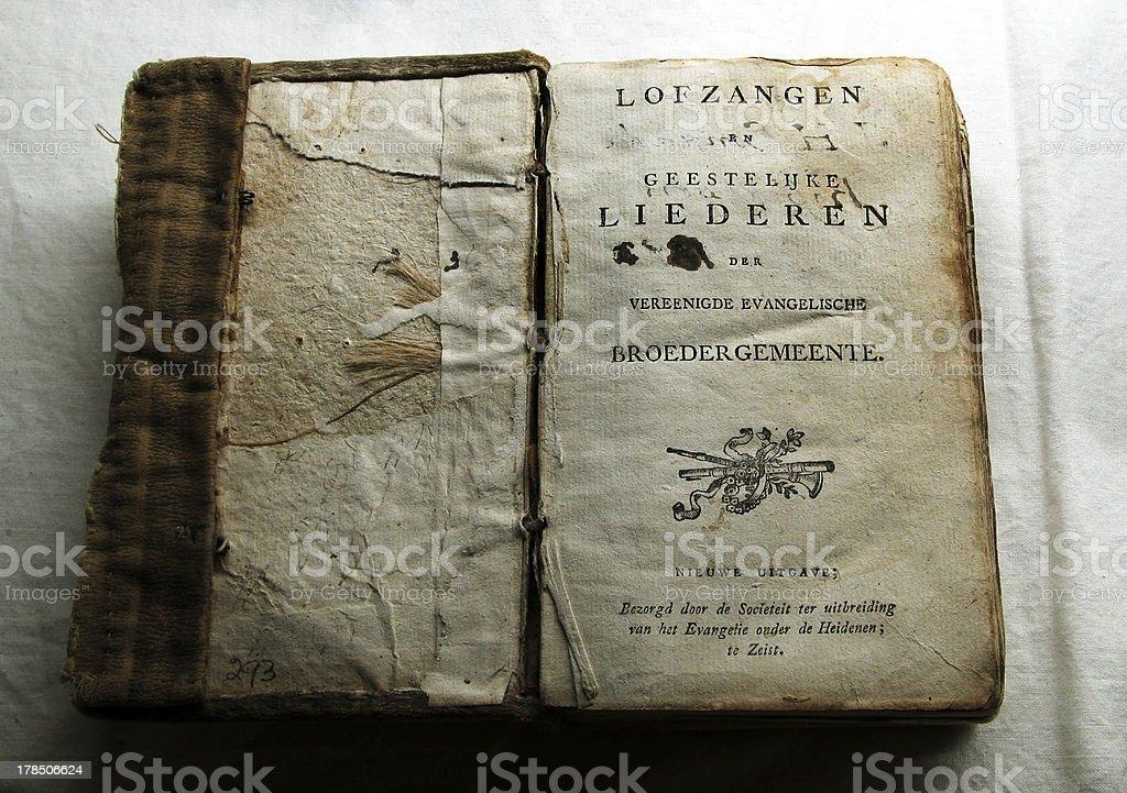 "19th Century Dutch ""Loftzangen"" Christian Hymn Book royalty-free stock photo"