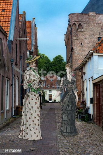 Mixed media collage reconstruction of an 19th century fashion shoot  with colored period engravings placed in 18th century Village  og elburg