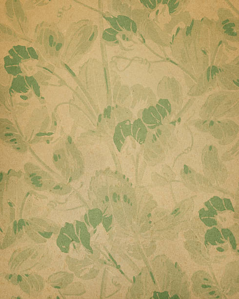 19th century floral paper design - foliate pattern stock photos and pictures