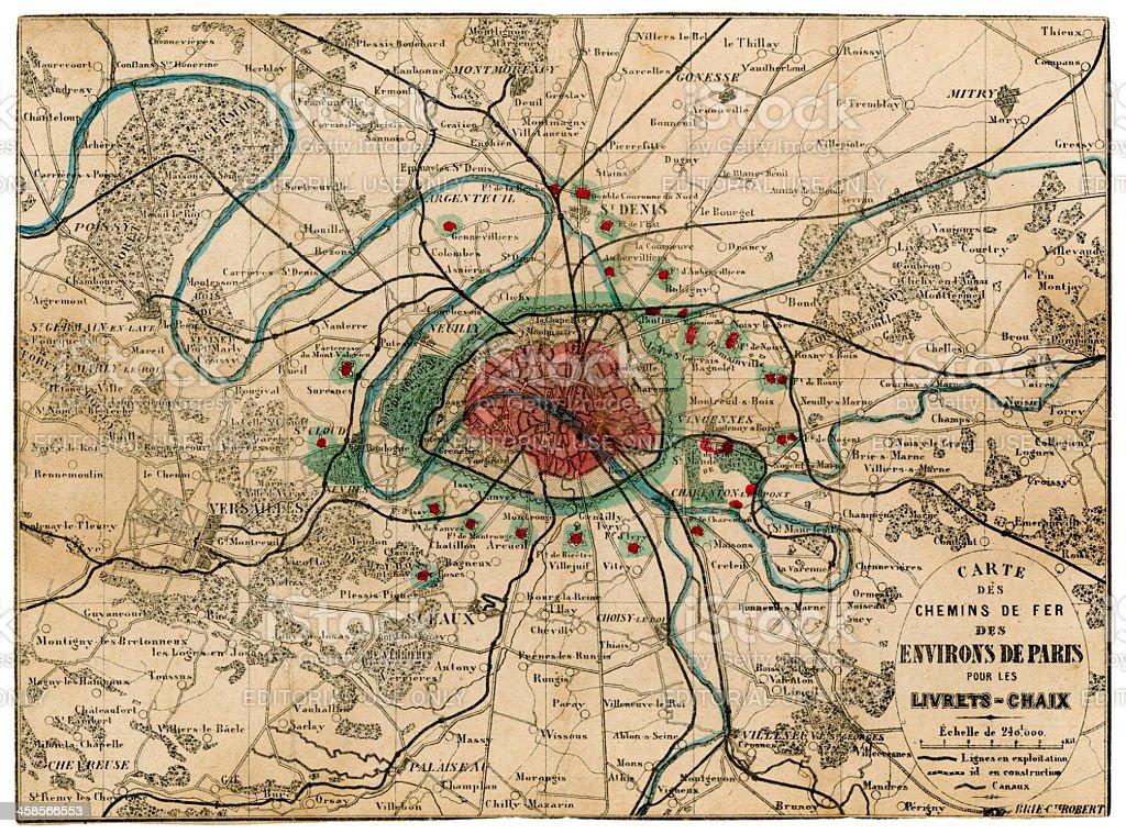 19th century French railway map for area around Paris royalty-free stock photo