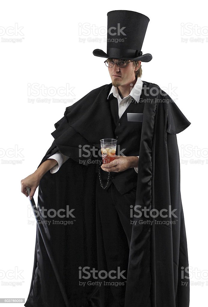 19th Century Gentleman Doctor with Skull Cup and Cane stock photo