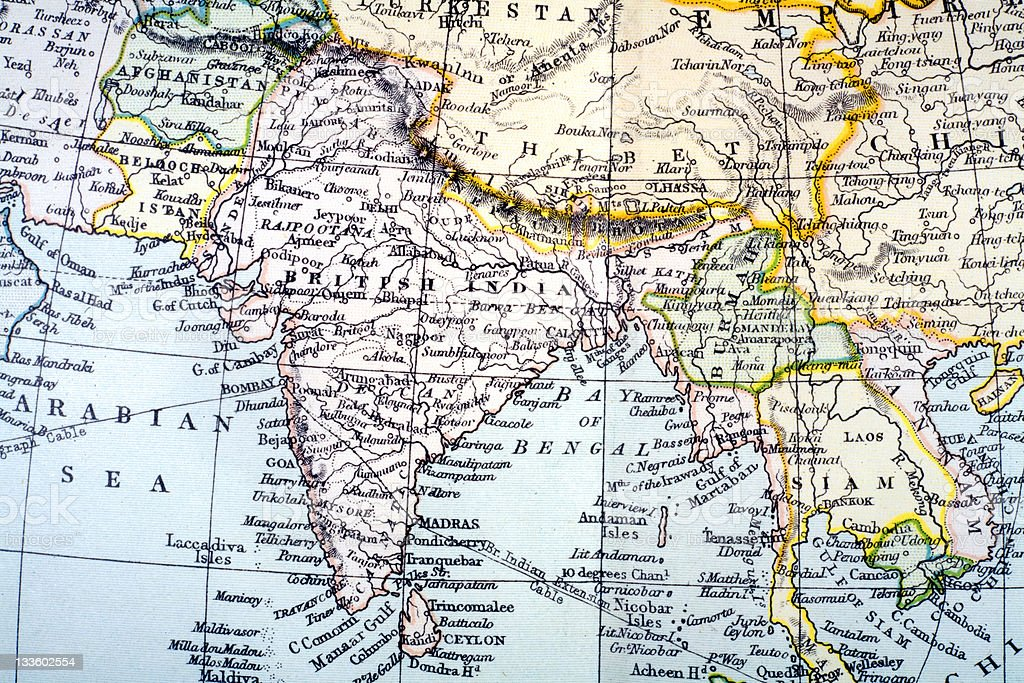 19th century map of 'British India' stock photo