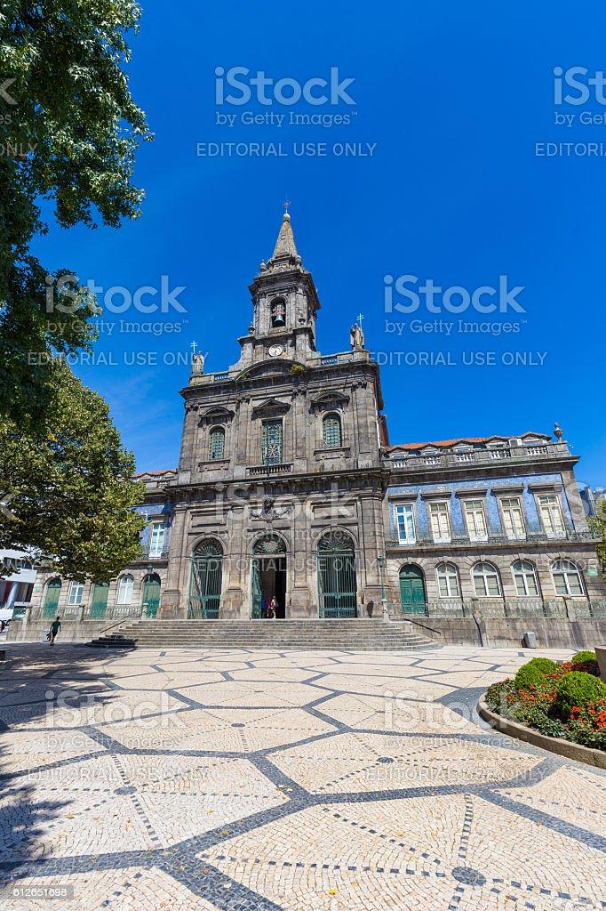 19th century Neoclassical architecture of Trinity Church in Porto, Portugal stock photo