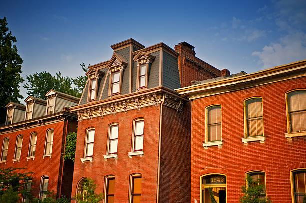 19th century vintage Row Homes in St. Louis, Missouri stock photo