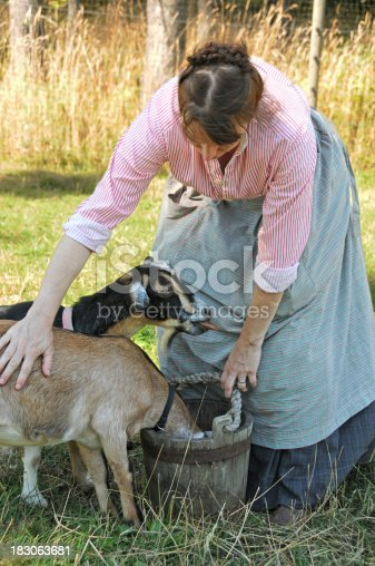 istock 19th Century Woman With Goats 183063681