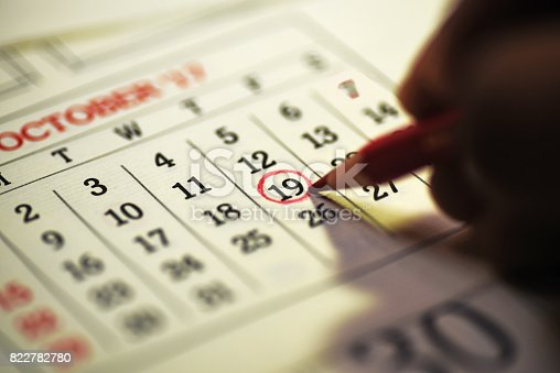 istock 19th day of the month marked in calendar 822782780