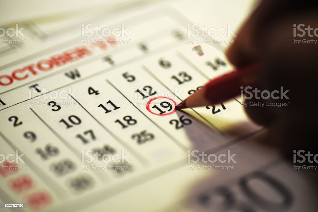 19th day of the month marked in calendar stock photo