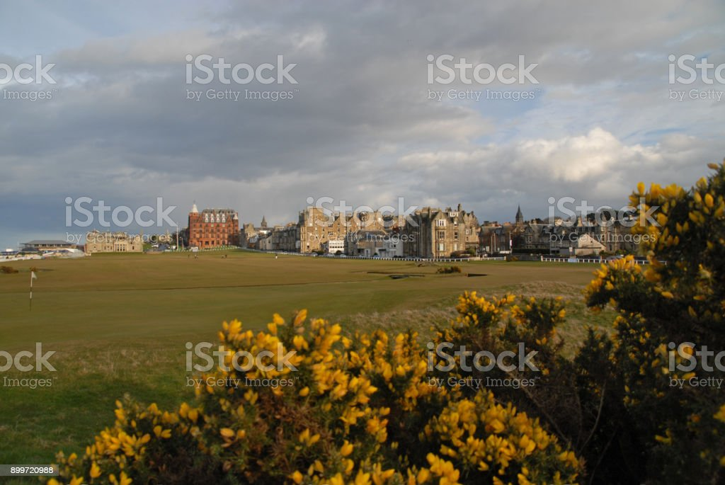 1st and 18th hole at the Old Course stock photo