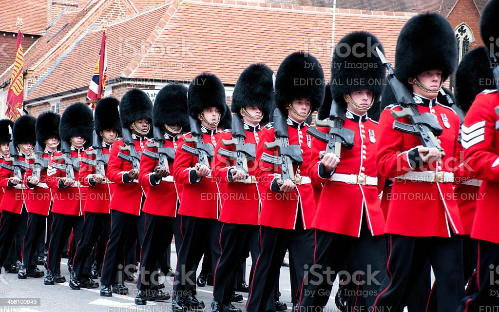 1st Battalion Scots Guards marching stock photo