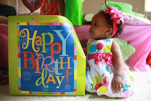 1 º aniversário garota - foto de acervo