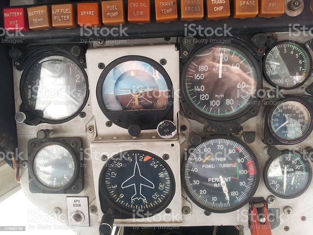 LAPD 1st helicopter – control gauges royalty-free stock photo