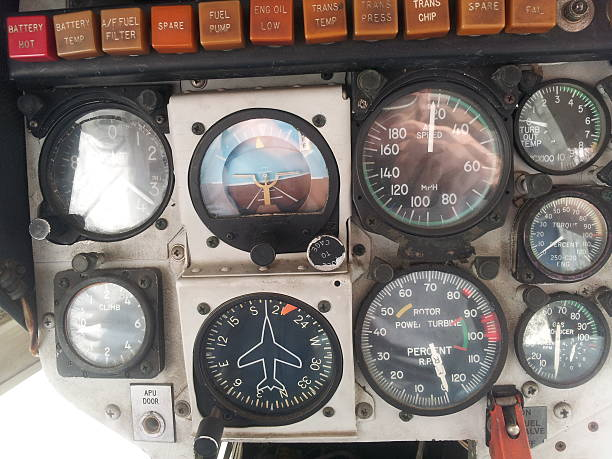 LAPD 1st helicopter – control gauges stock photo