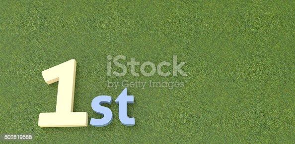istock 1st text written on green grass background 502819588