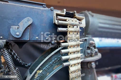 Detail of old 1st World War British machine gun