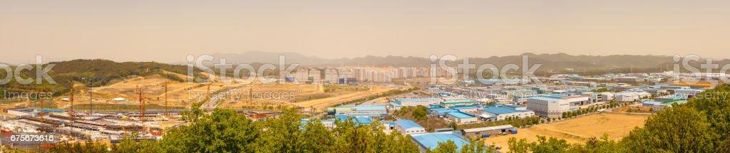 1th, may 2017, panorama view of gu-mi city in korea, gu-mi city is industrial park, in fine dust day foto de stock royalty-free