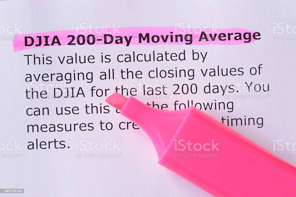 DJIA 200-Day Moving Average stock photo