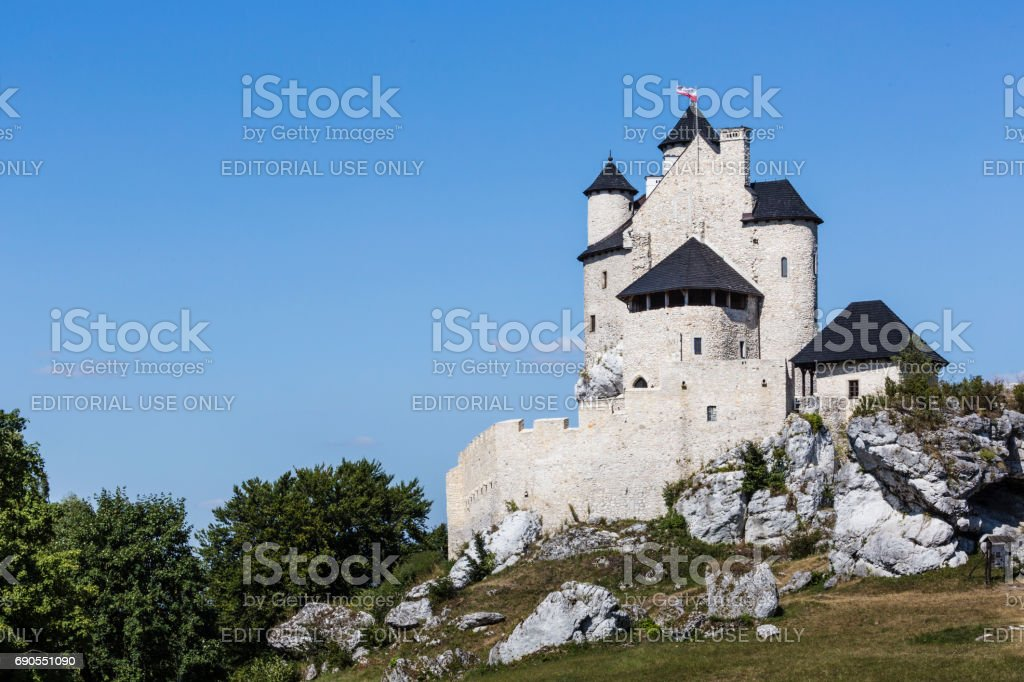 BOBOLICE - POLAND,   AUGUST 20, 2016:Beautiful medieval castle at sunny day over blue sky, Bobolice, Poland stock photo