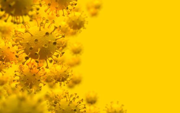 coronavirus respiratoire chinois 2019-ncov. vue microscopique de la cellule virale covid-19 sur un fond jaune. illustration monochrome. concept créatif. rendu 3d. - fond couleur uni photos et images de collection