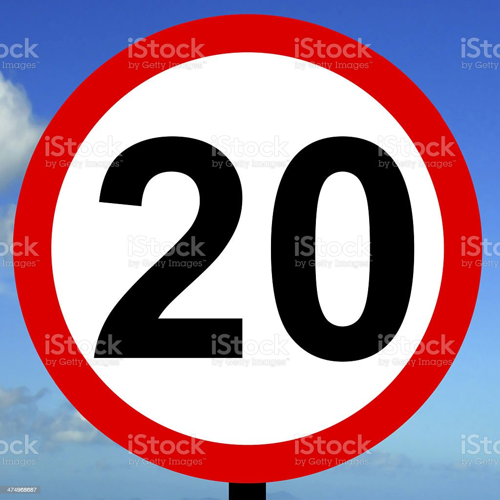 20mhp speed limit sign stock photo