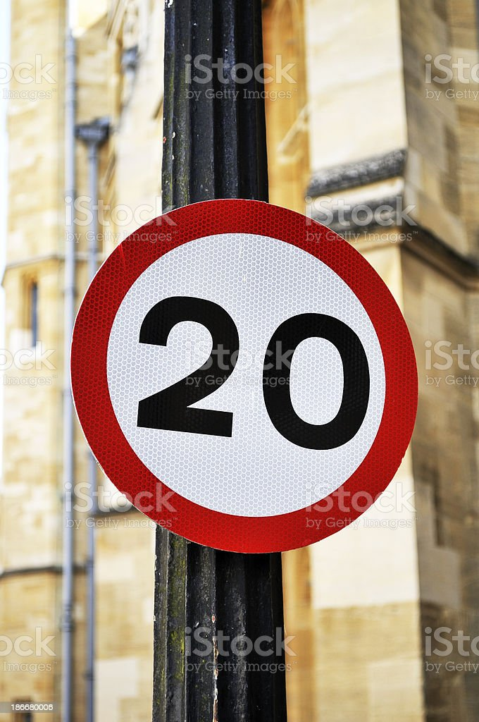 20Mph Road sign stock photo