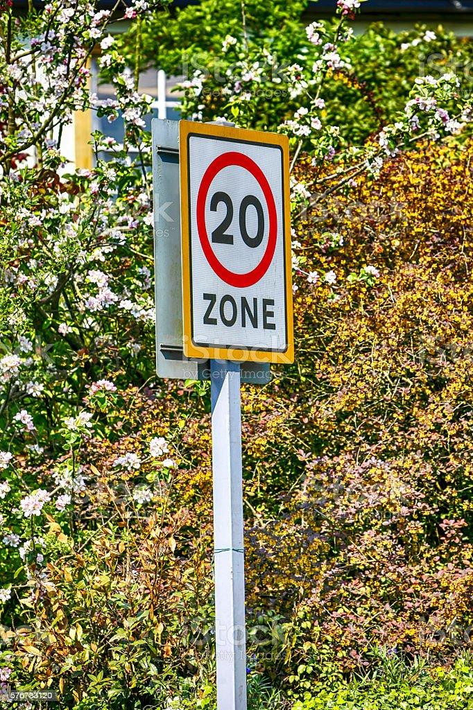 20mph zone road sign stock photo