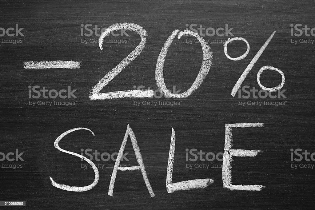 20-percent sale title stock photo