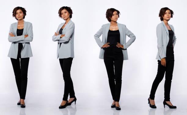 20s asian woman black short curl hair gray suit jacket pant profile - ritratto 360 gradi foto e immagini stock