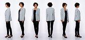 istock 20s Asian Woman black short curl hair gray suit jacket pant Profile 1253811919