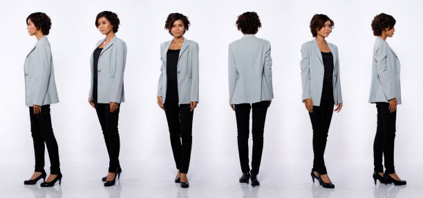 20s Asian Woman black short curl hair gray suit jacket pant Profile Collage Group Full length Figure snap of 20s Asian Woman black short curl hair gray suit jacket pant and shoes. Office girl stands turns 360 around rear side back view over white Background isolated full length stock pictures, royalty-free photos & images