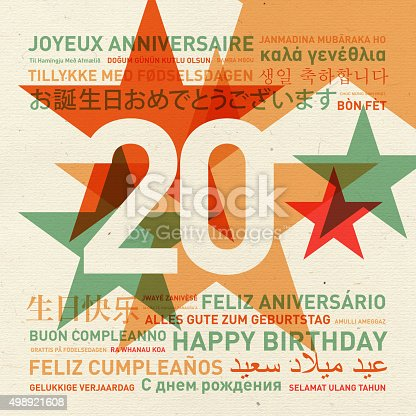 istock 20th anniversary happy birthday card from the world 498921608