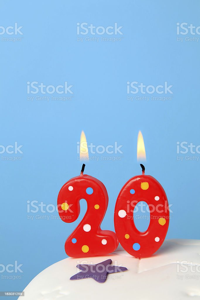 20th Birthday candles stock photo