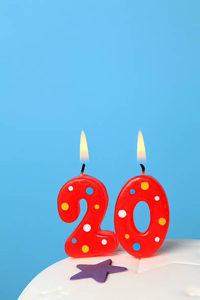 20th birthday candles - number 20 stock photos and pictures
