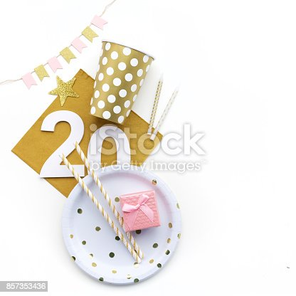 istock 20th Birthday party decoration. Flat lay, 857353436