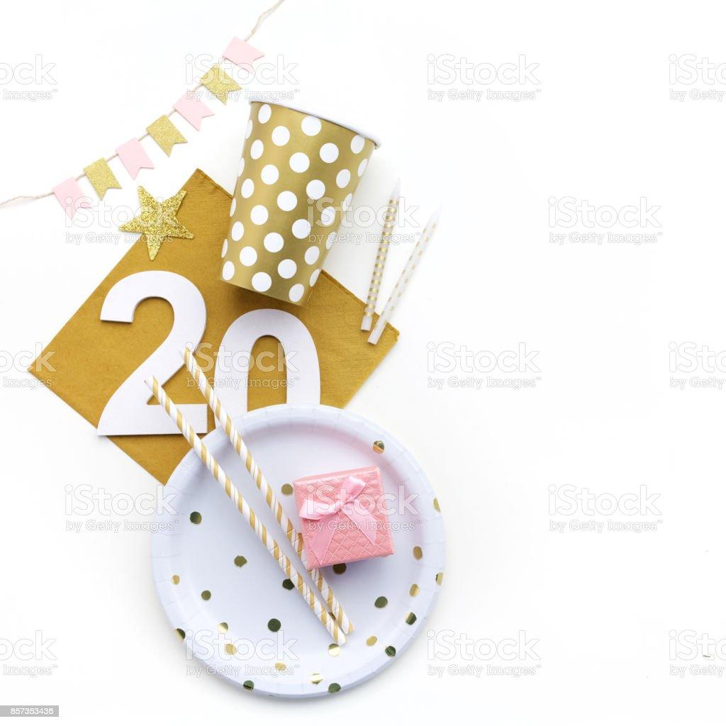 decoração de festa de aniversário 20. Postura plana, - foto de acervo