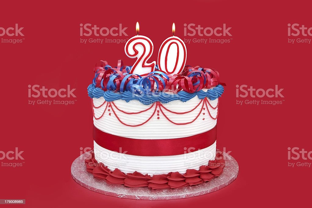 20th Cake stock photo