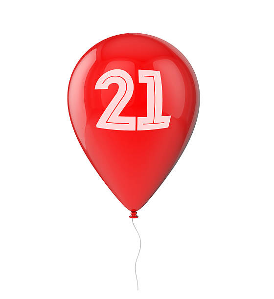 21st birthday balloon - number 21 stock photos and pictures