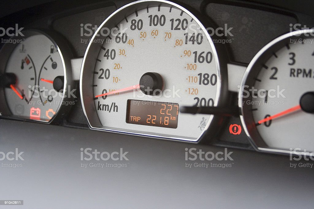 227km on new car odometer royalty-free stock photo