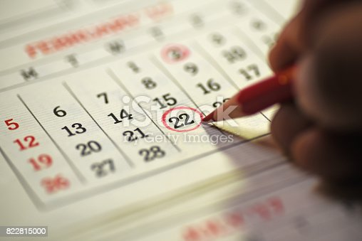 istock 22nd day of the month marked in calendar 822815000