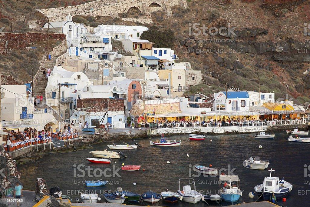 Oía Ammoudi Harbor, Santorini (Greece) royalty-free stock photo