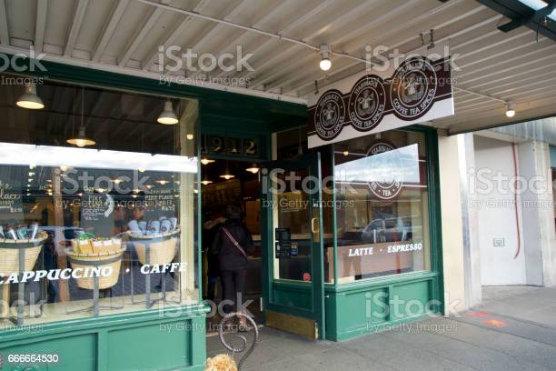 SEATTLE, WASHINGTON, USA - JAN 23rd, 2017: 1912 Pike Place often referred to as the 1st Starbucks store but is in fact the 2nd location. The 1st store was at 2000 Western Avenue in SEA