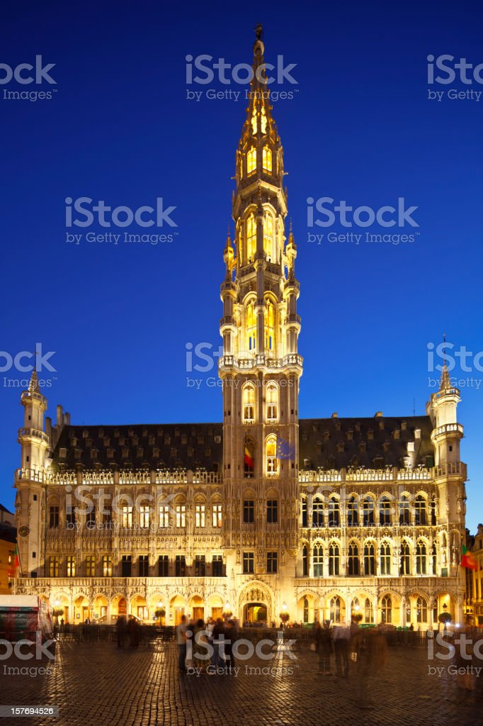 Hôtel De Ville In Brussels At Night royalty-free stock photo