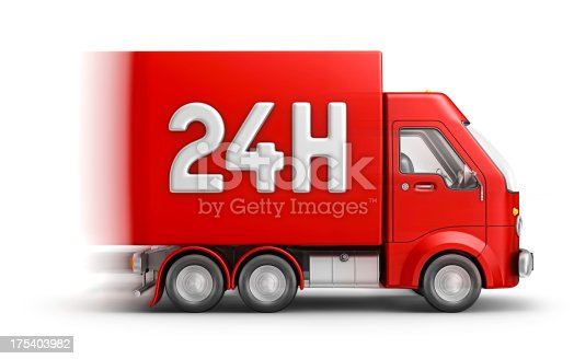 isolated red container delivery van and 24h sign on the side.3d render.