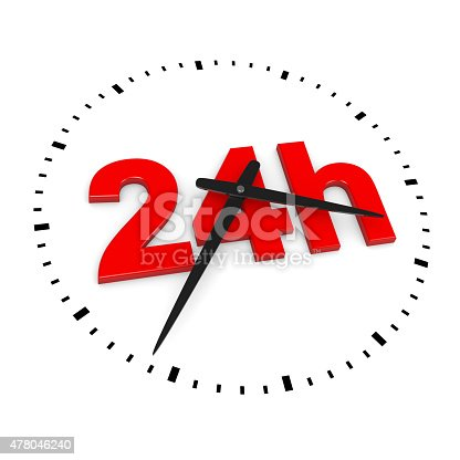 24h Service Red Text inside Round Wall Clocks on White Background 3D Illustration