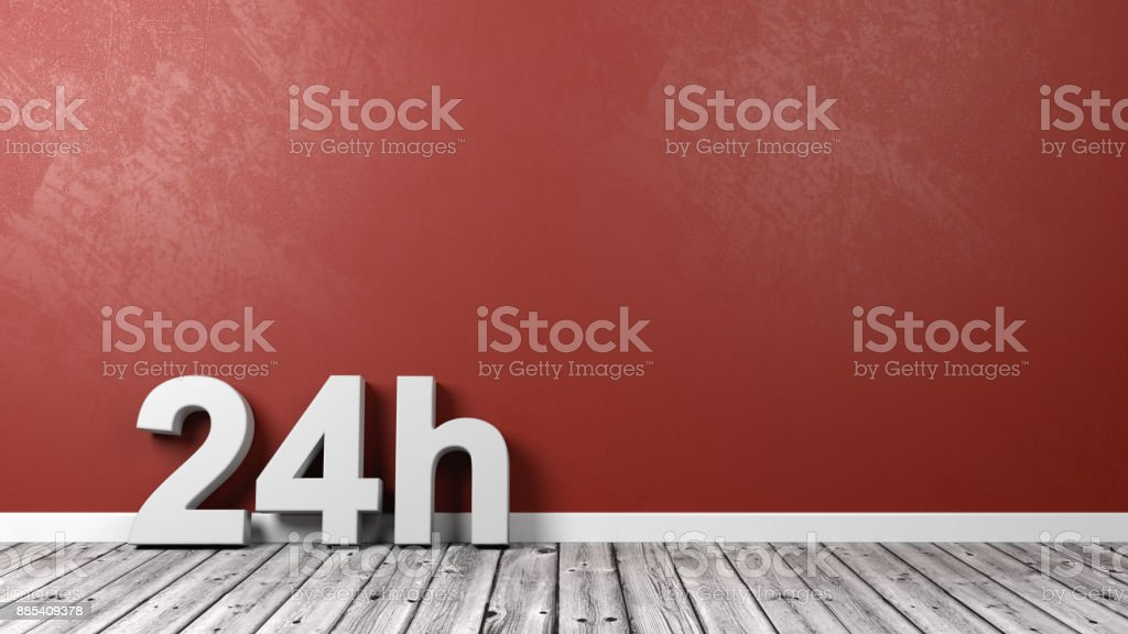 24h Text Letters on Floor stock photo