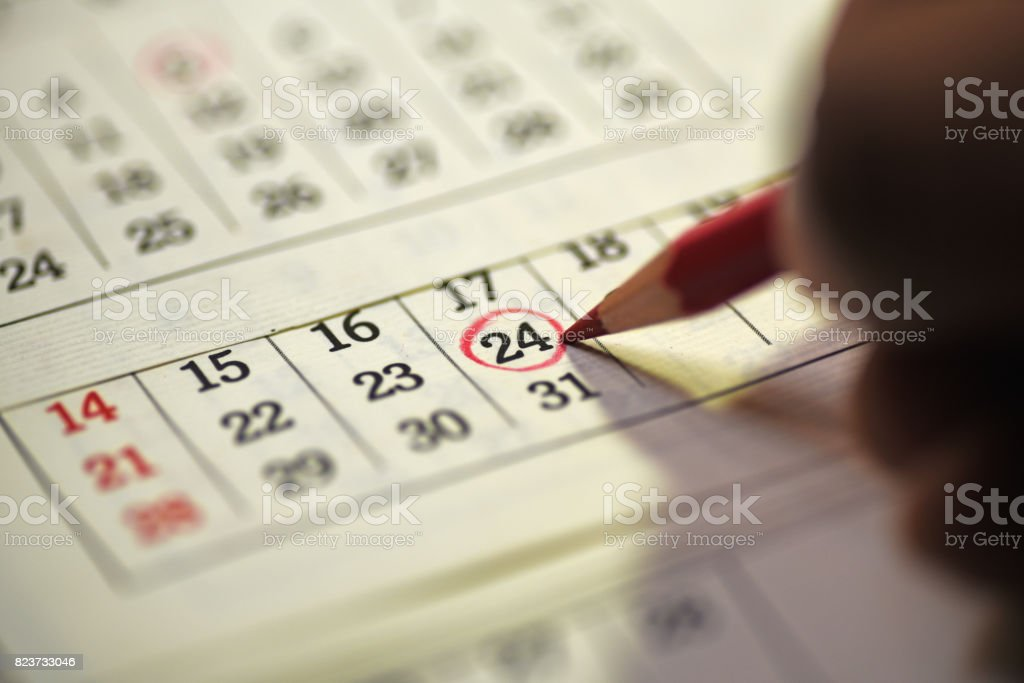24th day of the month marked in calendar stock photo