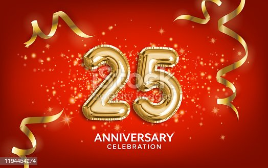 istock 25th Anniversary celebration. Anniversary Celebrating text balloons with golden serpentine and confetti on red background. 1194454274