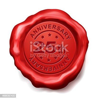 178269167 istock photo 25th anniversary red wax seal 468092432