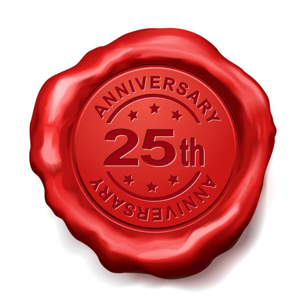 25th anniversary red wax seal stock photo